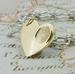 Gold Heart Fingerprint Necklace
