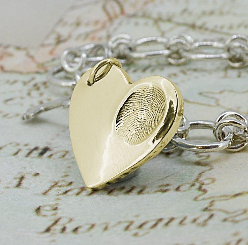 Gold Fingerprint Jewellery - Gold Heart Fingerprint Necklace