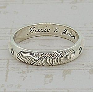 Gold Fingerprint Jewellery - Ladies Gold Fingerprint Ring