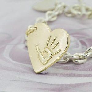 Handprint charm in 9ct yellow gold